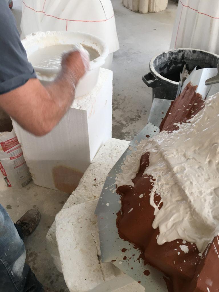 Confectionnement de la chappe en plâtre